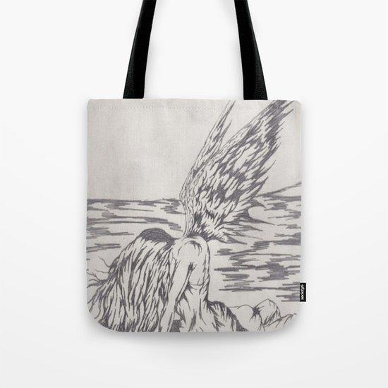 angel on rocks Tote Bag