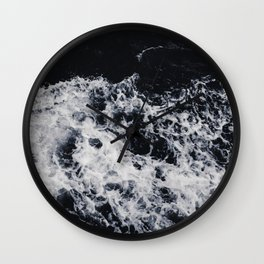 OCEAN - WAVES - SEA - ROCKS - DARK - WATER Wall Clock