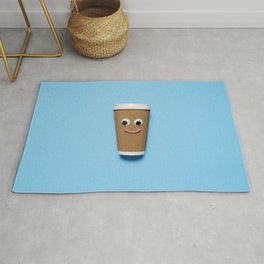 Happy disposable coffee cup Rug