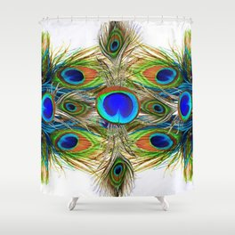 AWESOME BLUE-GREEN PEACOCK FEATHERS ART Shower Curtain