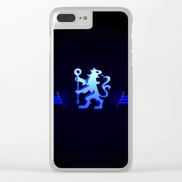 football team with its oversized color blue Clear iPhone Case
