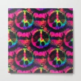 Hot Pink Peace Tie Dye Metal Print