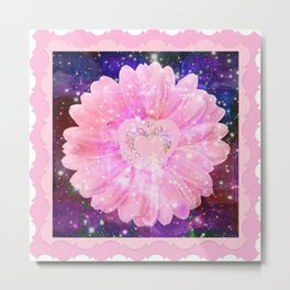 Pink flower with sparkles  Metal Print