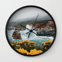 big sur Wall Clocks featuring Big Sur - Micah Hamilton by Micah Hamilton