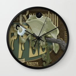 Frog & Coffee by Paulo Coruja Wall Clock