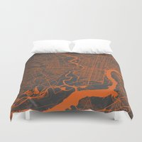 philadelphia Duvet Covers featuring Philadelphia 2 by Map Map Maps