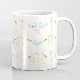 Soft Pastel Folk Art Daisies & Birds Coffee Mug
