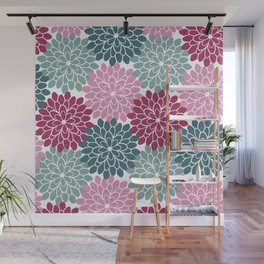 Petals in Rose, Maroon and Light and Dark Cyan Wall Mural