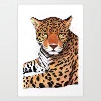 jaguar Art Prints featuring Jaguar by Savousepate
