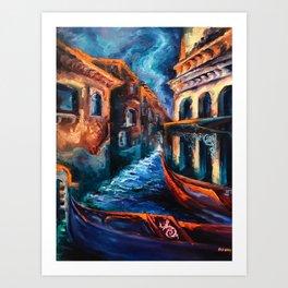 """Venice at Night"" Painting Art Print"