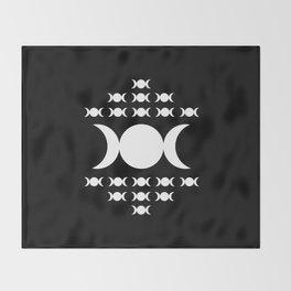 Triple Moon Goddess - White on Black Throw Blanket