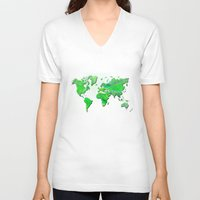 world map V-neck T-shirts featuring World Map by Roger Wedegis