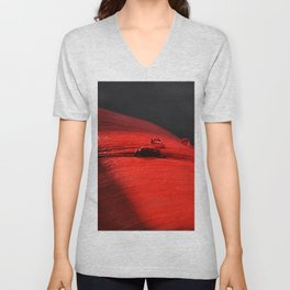 A drop of blood on a red leaf Unisex V-Neck