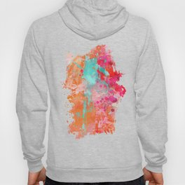 Paint Splatter Turquoise Orange And Pink Hoody