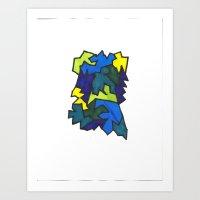 Zig Zags (Blues) Art Print