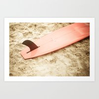 surfboard Art Prints featuring Red Surfboard by Allen G.
