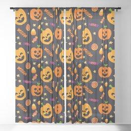 Happy halloween pumpkin, candies and lollipops pattern Sheer Curtain