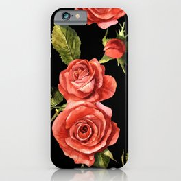 Vintage Red Roses On Black iPhone Case