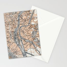 Vintage Map of Liège Belgium (1905) Stationery Cards
