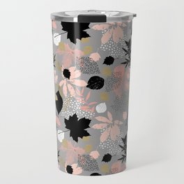 Abstract maple leaves autumn in pink and gray colors Travel Mug