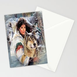 Mountain Woman With Wolfs Stationery Cards