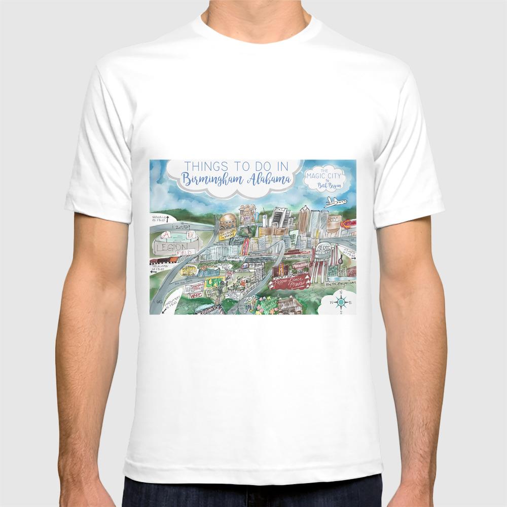 Cartoon Map of Birmingham, Alabama Landmarks T-shirt