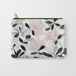 Floral Black and White Carry-All Pouch