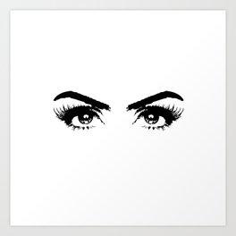 Sexy Black & White Eyes Girls Bedroom Eyelashes Makeup Art Art Print
