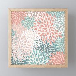 Festive, Floral Prints, Teal Green, Peach, Coral, Colour Prints Framed Mini Art Print