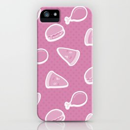 Pizza Burgers and Fried Chicken Picnic Time on Pink iPhone Case