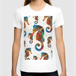 Colorful Seahorse Collage Art by Sharon Cummings T-shirt