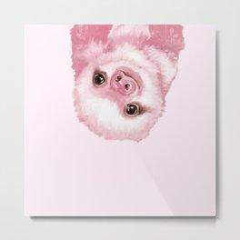 Baby Sloth Pink Metal Print