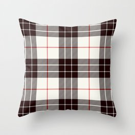 White Tartan with Black and Red Stripes Throw Pillow
