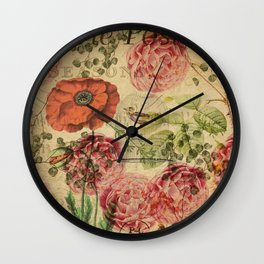 Vintage bohemian floral bird cage collage Wall Clock