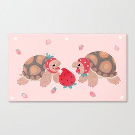 Tortoises love strawberries Canvas Print