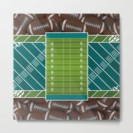 Teal Football Field and Footballs Metal Print