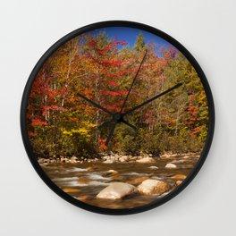II - River through fall foliage, Swift River, New Hampshire, USA Wall Clock