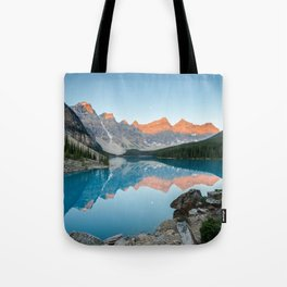 MORAINE LAKE SUNRISE CANADIAN ROCKIES BANFF NATIONAL PARK CANADA LANDSCAPE Tote Bag