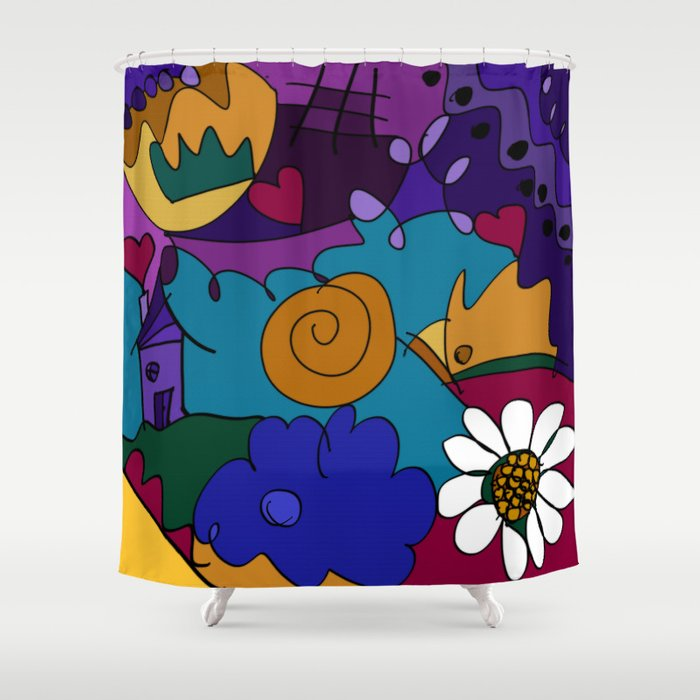 """Before the Celebration"" bold, colorful doodle art Shower Curtain"