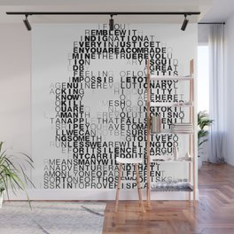 Che Guevara Portrait in Words Wall Mural