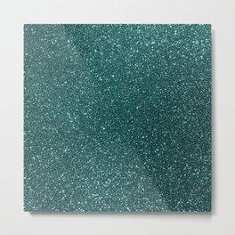 Deep Aqua BlueTurquoise Glitter Metal Print