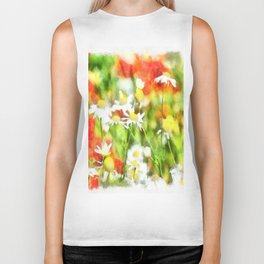 The Colors Of Spring On A Sunny Day Watercolor Biker Tank