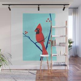 Cardinal Winter Berries Wall Mural