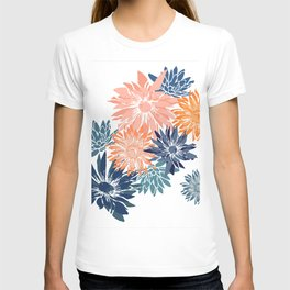 Abstract Garden Florals, Citrus, Coral, Blue T-shirt
