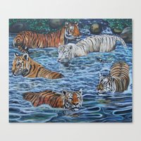 tigers Canvas Prints featuring Tigers by Mbeng Pouka