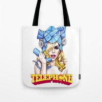 telephone Tote Bags featuring Telephone by Denda Reloaded