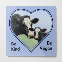 Holstein Cow and Calf Vegan Metal Print