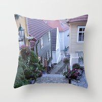 norway Throw Pillows featuring Bergen - Norway  by Cynthia del Rio