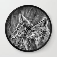 coyote Wall Clocks featuring Coyote by Patrick Entenmann