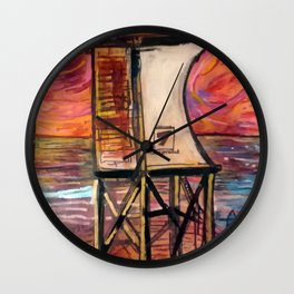 fire in the sky  over tower 7 Wall Clock